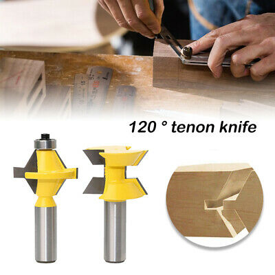 2x 1/2'' Shank Matched Tongue & Groove 120° Router Bit Woodworking Edge Banding