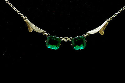 Antique Art Nouveau Sterling Silver Green Paste Stone Necklace Barrell Clasp