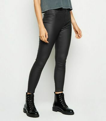 Coated High Waisted Skinny Jeggings Trousers New Look Faux Leather Pants 4-18