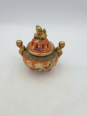 Vtg Japanese Porcelain Satsuma Small Incense Burner Hand Painted Dragon Gold