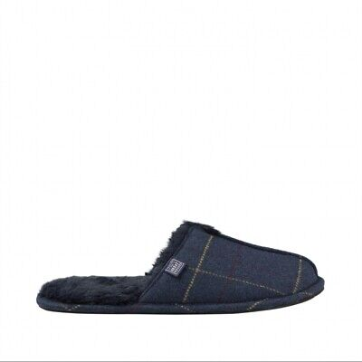 Joules FURLTON Mens Soft Warm Fleece Slip-On Winter Mule Slippers Navy Tweed