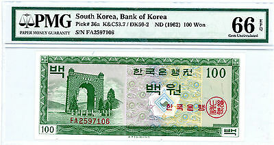 South Korea … P-36a … 100 Won … ND(1962) … UNC PMG 66 EPQ