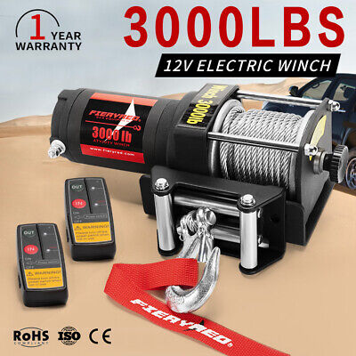 3000LBS 12V Electric Winch 12M Steel Cable Remote Offroad 4WD ATV UTV Durable