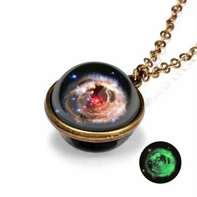 Glow in the Dark Solar System Pendant Necklace Jewelry Galaxy Double Sided Glass