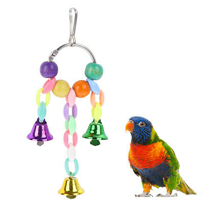 Colorful Beads Bells Parrot Toys Hanging Chain Pet Bird Chew Swing Home Decor~GN