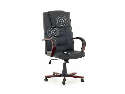 High Back Massage Chair Faux Leather Swivel Heating Black Home Office Diamond