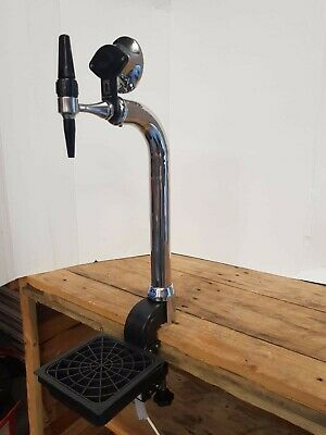Chrome Beer Pump /Font With Tap Handle And Round Badge Housing