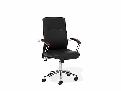 Modern Faux Leather Office Chair Black Metal Base Adjustable Castors Elect