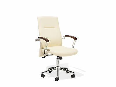 Modern Faux Leather Office Chair Beige Metal Base Adjustable Castors Elect