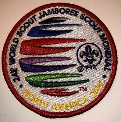 Red Participant Badge Patch 2019 24th World Boy Scout Jamboree - MINT