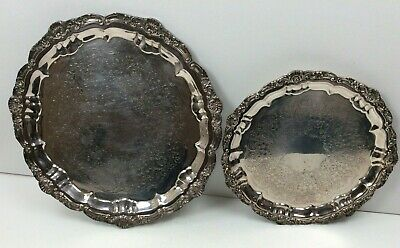 """2 Vintage EPCA Silverplate by Poole Footed Serving Trays 3216 (16"""") 3209 (12"""")"""