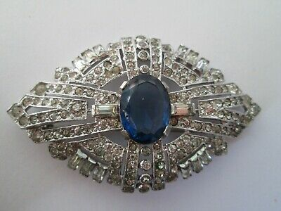 VINTAGE ART DECO BLUE SAPPHIRE CRYSTAL RHINESTONE silver BROOCH PIN signed