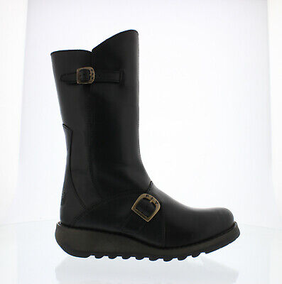 Fly London Mes 2 Womens Ladies Black Mid Calf Wedge Zip Up Leather Boots
