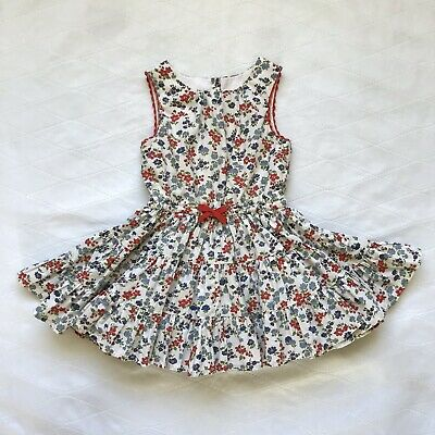 Mini Boden Girl's 2-3 Years White Dress With  Red & Blue Flowers.