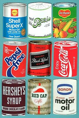 8 Single Swap Playing Cards CAN SHAPED ADS OIL FOOD BEER PEPSI COKE VINTAGE