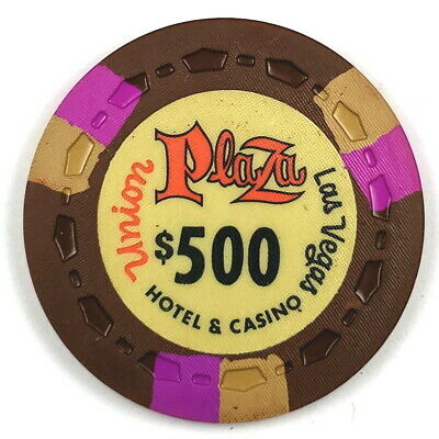 Union Plaza 1st Edition $500 Brown Scrown 3FCH3Tan OR-Gold Poker Chip ®UP1ST13