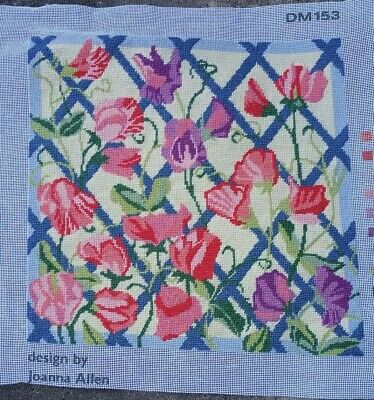 """Completed wool embroidery, very pretty and beautifully worked.  13 x 13"""" panel"""