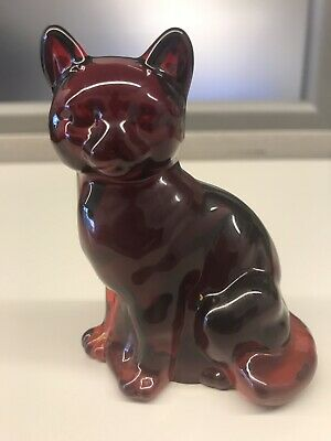 Fenton Art Glass Undecorated Ruby Red Sitting Cat 5165 RU Made In USA