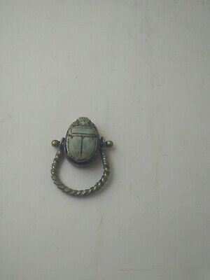 RARE ANTIQUE ANCIENT EGYPTIAN Faience Scarab Beetle Amulet Ring 300 Bc