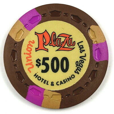 Union Plaza 1st Edition $500 Brown Scrown 3FCH3Tan OR-Gold Poker Chip ®UP1ST19