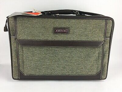 NEW Vintage JORDACHE Green Blue Fabric Tweed Travel Carry Suitcase Luggage