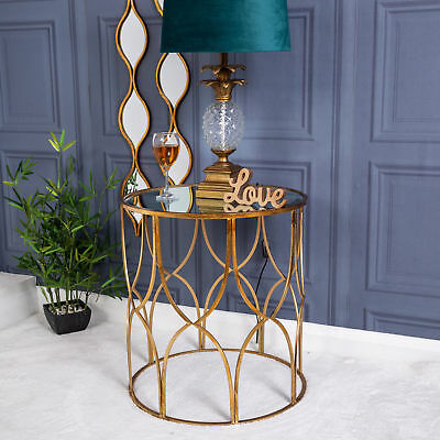 Round Metal Gold Vintage Chic Antique Side Table with Mirrored Top Glass Home
