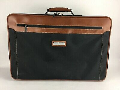 Vintage Jordache Soft Side Suitcase Luggage Travel Case Black And Brown