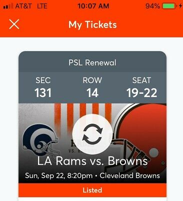 4 Tickets To The Browns / Rams Sept. 22