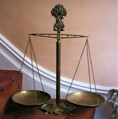 Old Antique Victorian Balance Beam Brass Weighing Scales Rare Harvest Corn 1880.