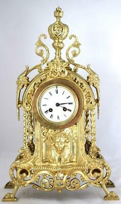 Lovely Antique French 1870 Embossed Gilt Bronze Bell Striking Mantle Clock