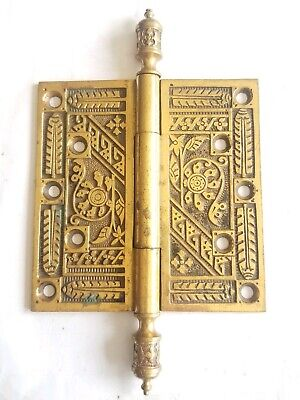 "EA149 Antique Ornate Brass Eastlake Steeple Top Door Hinge Hardware 5""x 5"""