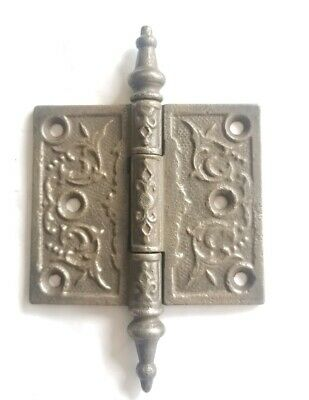 "EA168 Antique Cast Iron Ornate Steeple Top Door Hinge 3"" x 3"""