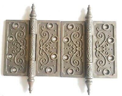 "EA66 Pair of Antique Ornate Steeple Top Door Hinge 4 1/2"" x 4 1/2"""