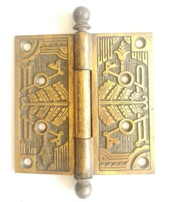 "EA97 Brass Antique Ornate Door Hinge Canon Ball Top 4 1/2"" x 4 1/2"""