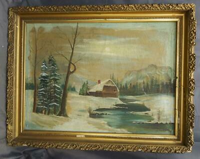 Antique Oil Painting American Winter Snow Landscape House Stream Trees W Shafer