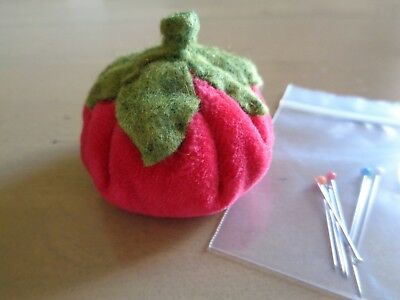 Velvet Tomato Pincushion Red Pin Cushion Emery Handmade Small Plush Photo Prop