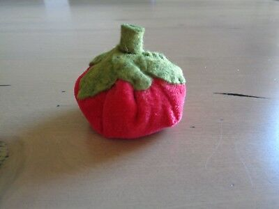 Red Tomato Pincushion White Emery Small Plush Red Baby Tomato Handmade Sewing