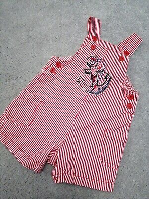 Red Pinstripe Sailor Dungarees 12-18 Months