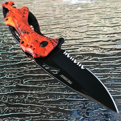 Tac Spring Assisted Tactical Hunting Camping Orange Camo Folding Pocket Knife