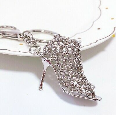 silvery 3D High-heeled shoes Car Charm Purse Key chain Key ring Finders Pendant