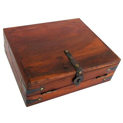 Vintage Antique Wood Folding Portable Travel Writing Lap Desk Document Box Case