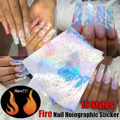 Stripe DIY Manicure Holographic Thin Laser  Fire Nail Sticker Flame Hollow