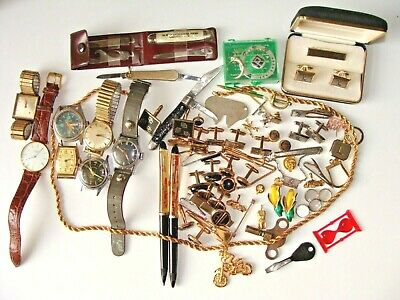 Junk Drawer Men's Jewelry Old Watches (don't work) Cuff-link Sets Pocket Knives