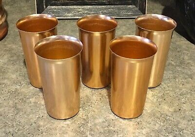 Vintage Set of 5 Copper Color Anohue Anodized Aluminum Drinking Tumblers Cups