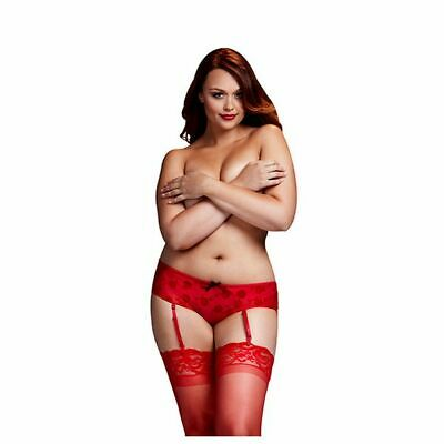 S13003645 180154 Shorty rose rouges ouverture entrejambe grande taille Baci Ling