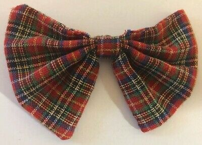 "3"" Plaid Bow Tie Bowtie Sew-on Glue-on Dolls Bears Children's Clothing Accessory"