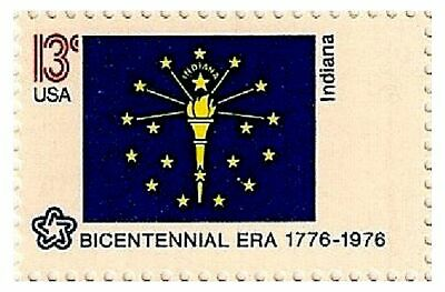 1976 Mint 13¢ INDIANA FLAG STAMP US USA American State Flags Bicentennial #1651