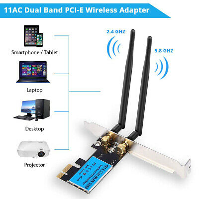1200Mbps PCI-E WiFi Wireless Card Dual Band 2.4G/5G Network Adapter for Desktop