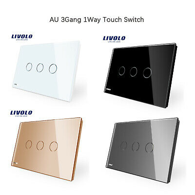 LIVOLO AU Standard Beautiful Crafted Wall 3Gang 1Way Power Touch Switch