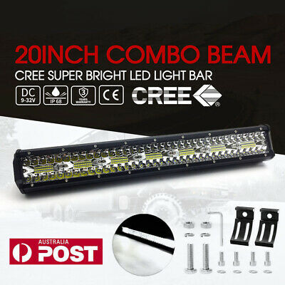 20 inch 4WD Tri-row CREE LED Light Bar Spot Flood Combo Driving Offroad Truck AU